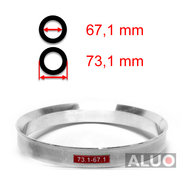 Aluminiums sentreringsringer for alu felger 73,1 - 67,1 mm ( 73.1 - 67.1 )