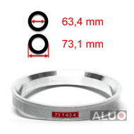 Aluminiums sentreringsringer for alu felger 73,1 - 63,4 mm ( 73.1 - 63.4 )